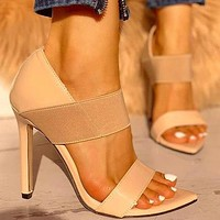 Women High Heels Elastic Shoes Women Thin High Heels Shoes Sandals Office Party Wedding Ladies Shoes