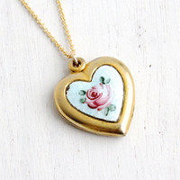 Vintage Enamel Guilloche Floral Heart Locket- Gold Tone 1940s White and Pink Enamel Rose Sweetheart Jewelry