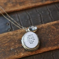 Sylvia Plath Necklace, Desire Necklace, Quote Necklace, Quote Locket, Locket Necklace, Gift for Her, Best Friend Gift, Mom Gift