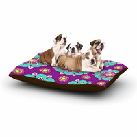 "Sarah Oelerich ""Bright Blossoms"" Aqua Purple Dog Bed"