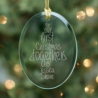 Engraved Our First Christmas Oval Glass Ornament