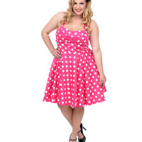 Plus Size Pink & White Polka Dot Halter Fit N Flare Dress