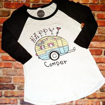 Retro Happy Camper Baseball Tee - Small or Medium only