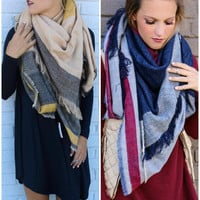 Reunion Island Oversized Striped Blanket Scarf