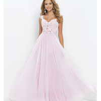 Blush Prom Petal Pink V-Neck Sweetheart Lace Crystal Bodice Chiffon Gown  Prom 2015