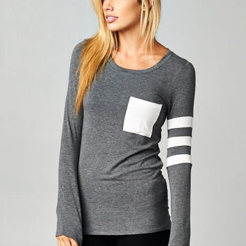 Sporty Knit Top - Gray