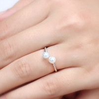 womens retro sterling silver pearl ring adjustable gift 165