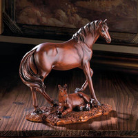 Equestrian Majestic Mother and Foal Mahogany Horse Statue
