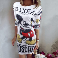 White Mickey Mouse and Letter Print Dress