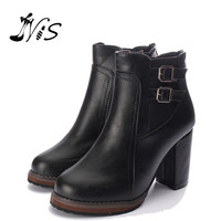 Hot Sale Women Thick High Heel Double Buckle Elastic Bootie Zipper Martins Ankle Boots Ladies Autumn Winter Round Toe Shoes