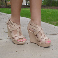 Uptown Girl Wedges - Beige