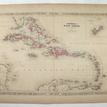 Antique Map West Indies 1867 Johnson Map, Caribbean Virgin Islands, Wedding Gift for Couple, Vintage Art Map Vacation Gift Island Decor