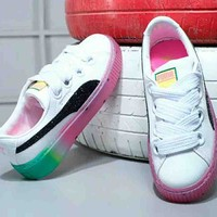 PUMA Fashion new watermelon bottom sports running shoes women White