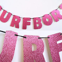 SURFBORT Glitter Banner Wall Decoration Garland - Pink Sparkles - Beyonce Drunk In Love