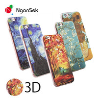 NganSek For Apple iPhone SE 4 4s 5 5s 6 6plus 6s 6splus Limited Sale 3D Patterns of Van Gogh Starry Night Phone Case