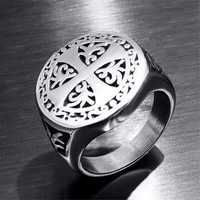 Knights Templar Luck Cross Crusader Men Ring Seal Punk Rock Hip Hop Titanium Stainless Steel Male Ring Wedding Band Biker DAR253