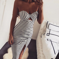 2016 summer women's black and white striped sheath dress Bra