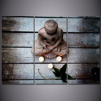 Modern Canvas Posters Home Decor Wall Art Pictures 3 Pieces Mood Garden Buddhism Religion Paintings Living Room HD Printed Photo