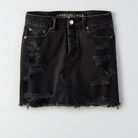 AEO Vintage Hi-Rise Destroyed Denim Skirt, Black