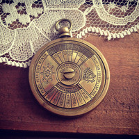 1 - 50 Year Perpetual Calendar Pendant, Antique Brass, Really WORKS