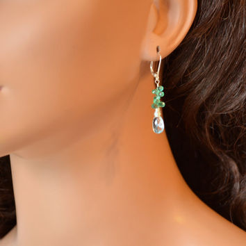 NEW Real Emerald Earrings, Blue Topaz, AAA Gemstones, May Birthstone, Lever, Leverback Earwires, Sterling Silver Jewelry, Free Shipping