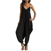 Fashion  Summer Women Jumpsuit Sexy V Neck  Loose Strap Strappy Baggy Overalls