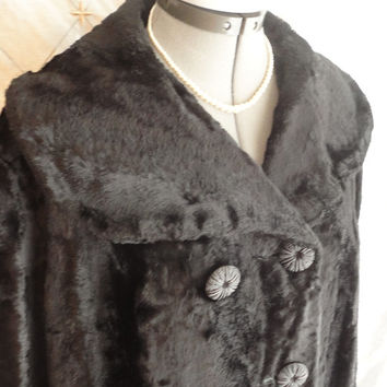 ON SALE L // 60s Coat // Vintage 1960s Black Faux Fur Coat with Fabulous Buttons and Lovely Wide Collar and Wide Sleeves Size L
