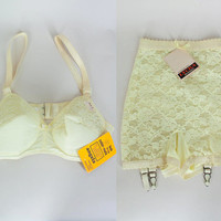 Vintage 1960s Lingerie / 60s Deadstock Pastel Yellow Lace Bra and Garter Panty Set XS S 34B