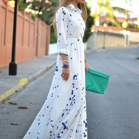 White Polka Dot Print Long Sleeve Elastic Waist Maxi Dress