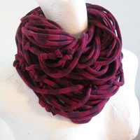 Maroon Oxblood Striped Infinity Scarf Upcycled Chunky Cowl Scarf Eco Winter Accessories Gifts Under 75 Black Friday Etsy Cyber Monday Etsy