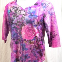 G C Collection, Top Blouse, Purple Gray Floral, Silky Sheen,  Burn Out with Lining, Size M Medium, Gorgeous, Dressy Casual, Modest