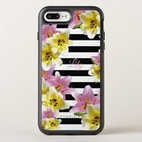 Lily Flowers Black and White Striped Pattern OtterBox Symmetry iPhone 8 Plus/7 Plus Case