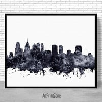 Philadelphia Print, Philadelphia Skyline, Philadelphia Pennsylvania, City Skyline Prints, Skyline Art, Office Poster, ArtPrintZone