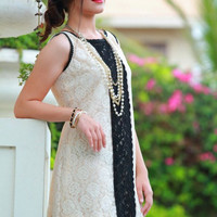 Black and White Lace Mini Dress Classic Elegant Spring Summer Wedding Graduation