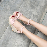Knot Wedges Platform Sandals Ankle Straps Peep Toes Women Pumps Shoes Woman