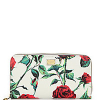 Dolce & Gabbana - Floral Textured Leather Zip Continental Wallet - Saks Fifth Avenue Mobile
