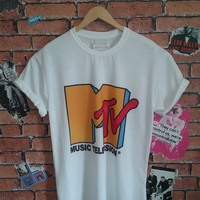Men's MTV vintage print t shirt/T-shirt/tee  (Woman's fit also available)