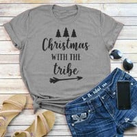 Christmas with the tribe Holiday T-Shirt Christmas tree Arrow Graphic Tee Grunge Vintage Girl Gift Tops Aesthetic Outfits Shirts