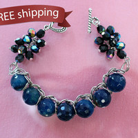 FREE shipping. Women bracelet dark blue agate, Czech crystal beads, chain. Original and unusual