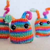 mini bunny nuggets - discounted set of THREE plush rainbow bunnies with bendable ears, knit toy (custom)