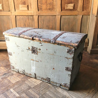 Antique Wooden Trunk, Chippy Distressed Trunk, Hand Forged Hardware, Vintage Stagecoach Trunk, Storage Trunk