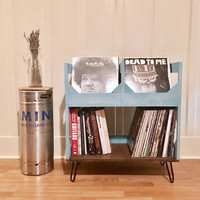 "Deluxe Vinyl Record Storage on 6"" Hairpin Legs // Displays and Protects Your Collection of Over 200 12"" vinyl records"