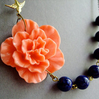 Statement Necklace,Bridesmaid Jewelry,Coral Flower Necklace,Navy Blue Nautical Necklace,Beadwork Jewelry,Summer (Free Matching Earrings)