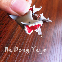 Sharks! Surprise. Bite your ears. polymer clay earrings, YOUCH Piranha Plant Earrings