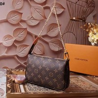 Louis Vuitton Men Women Leather Purse Single-Shoulder Bag Crossbody