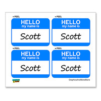 Scott Hello My Name Is - Sheet of 4 Stickers