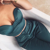 pofash strapless 2 piece 1 set crop top sexy long Jumpsuit  romper sleeveless solid pocket playsuit slim fashion bodysuit 2017