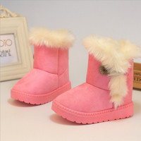 Winter Children Snow Boots Thick Warm Cotton-Padded Kids Shoes Slip-resistant Buckle Suede Boots Plush Girls Boots