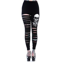 Rockabilly Gothic Skull Cut up - Cut Out Sexy Ripped Look Leggings