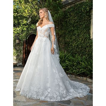Casablanca 2361 Anabelle Off the Shoulder Sweetheart Lace Ball Gown Wedding Dress